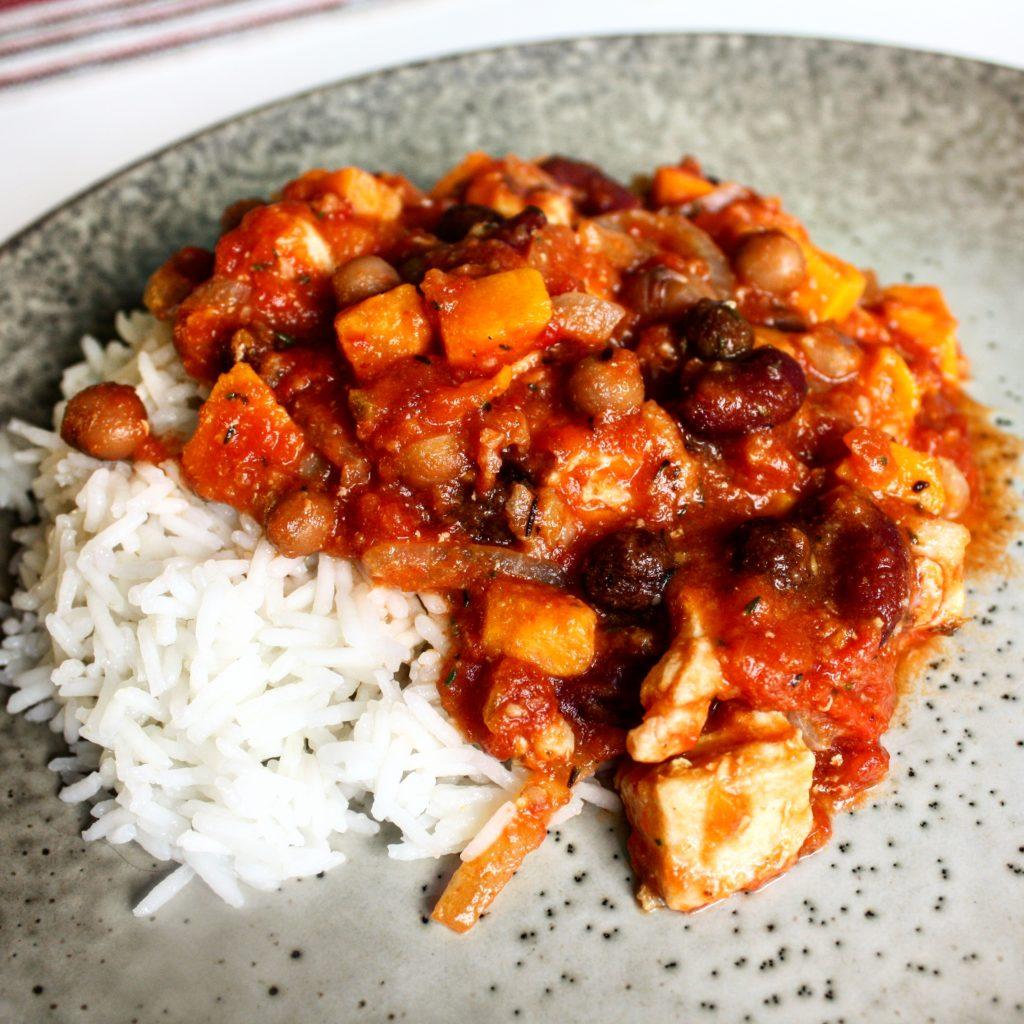 Väst afrika, afrika, kyckling, bönor, tomat, ris