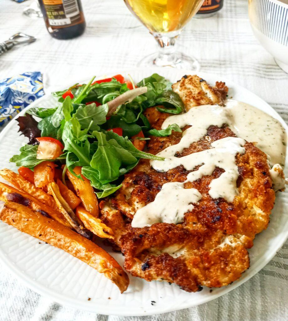 Kycklingschnitzel öl schnitzel sötpotatis