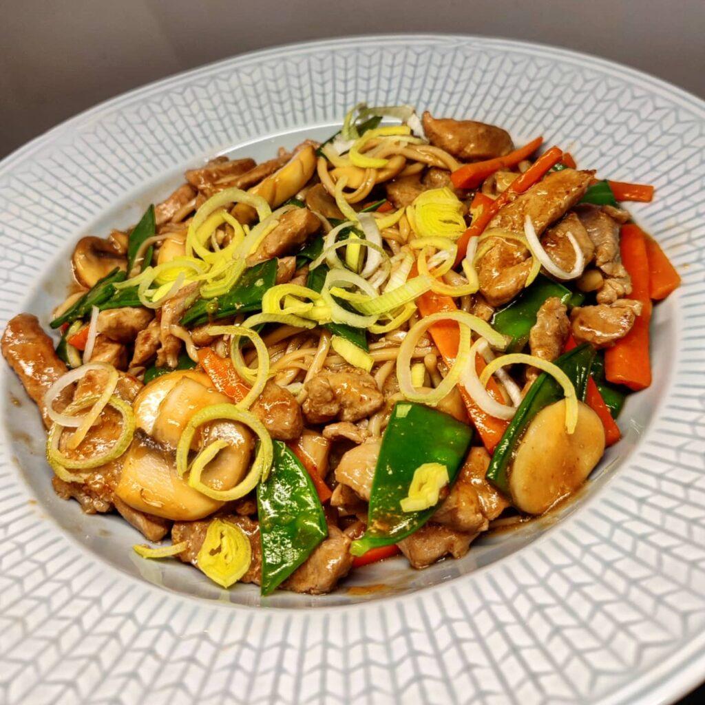 Fläsk wok vitlök Ingefära